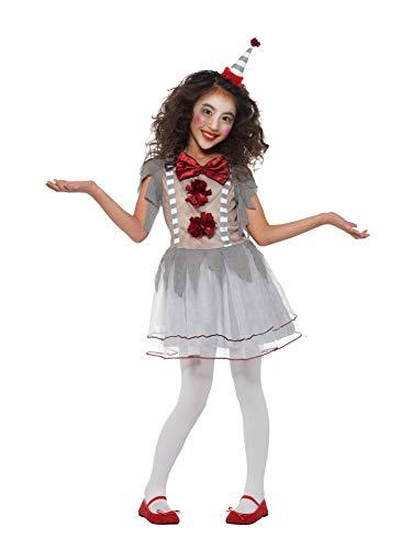 Smiffys Clown Girl Costume Disfraz de payaso vintage, color gris y rojo, L-10-12 Years (49825L)