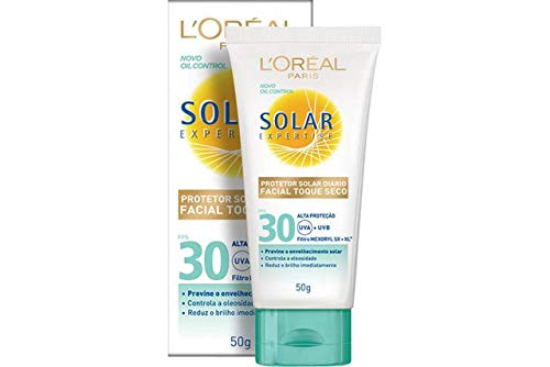 Protetor Solar Facial com Toque Seco FPS 30, L'Oréal Paris, Branco, 13