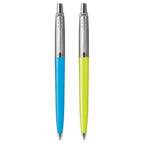Parker Jotter Originals Penne a Sfera | Collezione Pop Art | Lime e Blu Cielo con Puntale Cromato | Punta media | Inchiostro blu | 2 pezzi