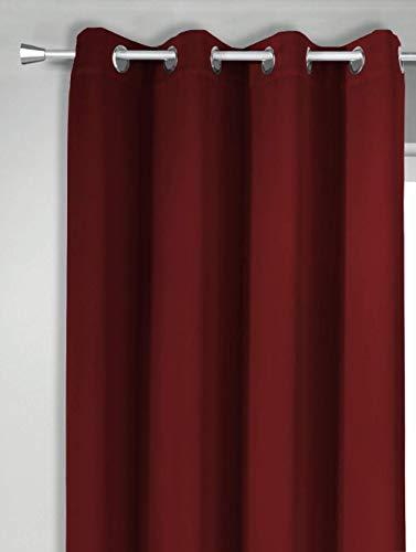 NOVUM fix Vorhang mit OESEN in Bordeaux-rot * Verdunkelung in XXL MASSANFERTIGUNG bis 350cm Länge *Lärmdämmend * Thermoeffekt* Made IN Germany* (145x250cm(BxH))