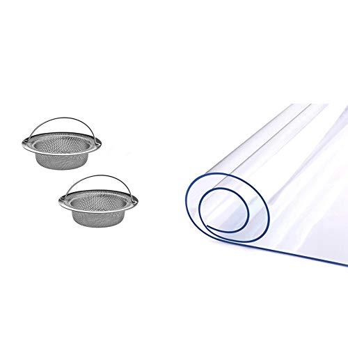 Cuasting 1 protector de mesa para mesa de comedor, mantel transparente y 2 filtros de cesta de fregadero de cocina con 2 asas