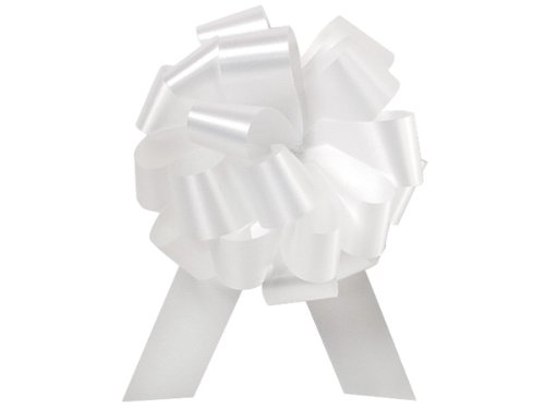 White Flora Satin 5.5' Pull Bows 20 Loops 10 pk Premium Quality Gift wrap Paper A1 bakery supplies