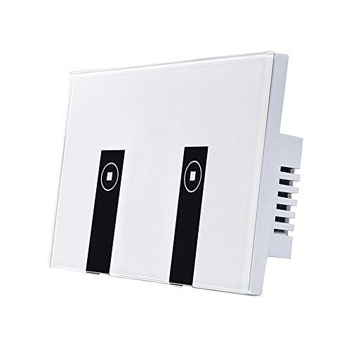 tellaLuna WiFi Inteligente luz interruptor 2 interruptores toque placa luz Alexa, inalambrico encendido/apagado, control remoto de la aplicacion de voz de Control, Compatible con Alexa Amazon.
