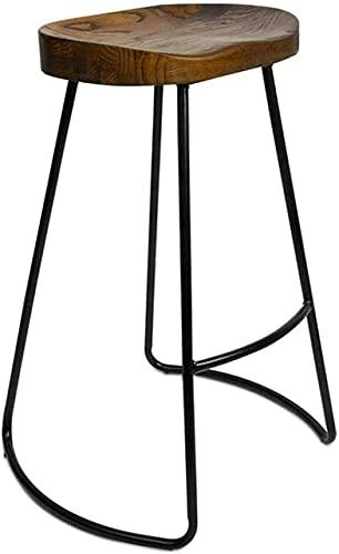 HEZHANG Bar Taburete Silla de Barra de Madera Sólida, Cocina para el Hogar Taburete Taburete Multifunción Contador de Tela Metal Soporte de Metal Cojín de Madera,a,65Cm