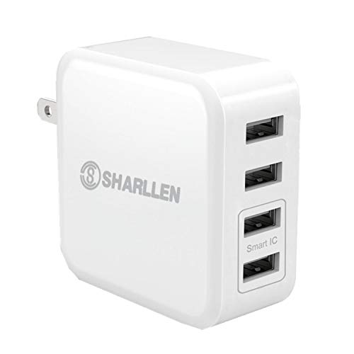 4-Port USB Wall Travel Charger,31 W/6.2A Charger Desktop Charger with Folding Plug Portable Travel Charger for iPhone Xs/XS max/XR/X/8/7/ 6s, iPad Pro/Air 2 / Mini, Galaxy S7 / S6, Note 5/4-SHARLLEN