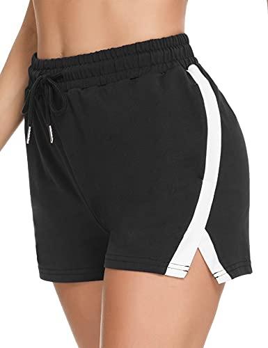 Wayleb Kurze Hosen Damen Sommer Baumwolle Shorts Sweatpants Frauen bequem mit 2 Taschen weiche Pyjama-Shorts Stretch Kordelzug Jogginghose Schwarz S