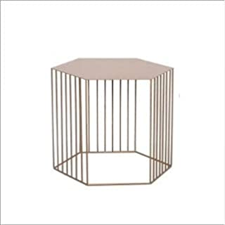 JINYANG Table Fashion Simple Modern Coffee Tables The Creative Living Room Table Flower Stand(Small White (Color : Small Golden Brown)