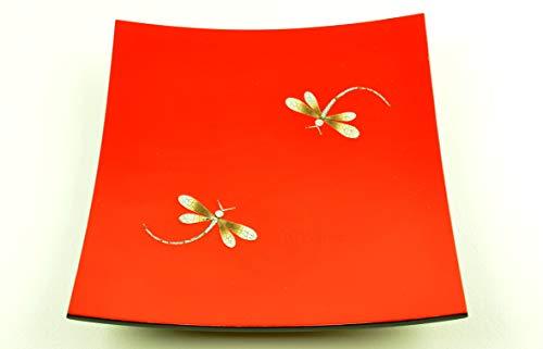 vnhomeware Assiette en bois laqué faite à la main incrustée de coquille d'œuf, forme carrée incurvée, assiette décorative et de service, rouge/noir, petite taille, H055BS