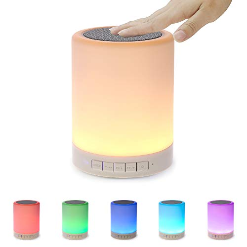 Night Light Bluetooth Speaker, Portable Wireless Bluetooth Speakers, Bedside Lamp, Touch Control Color LED Speaker, Table Light, Speakerphone/TF Card/AUX-in Supported for Car, Home, Outdoor