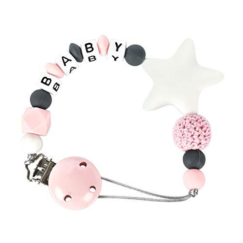 Trendrange Baby Schnullerkette mit Clip, 0-3 Jahre alt Silikonperlen Schnullerketten Schnullerband Geschenk zur Gebur für Junge Mädchen Kinder (Rosa)
