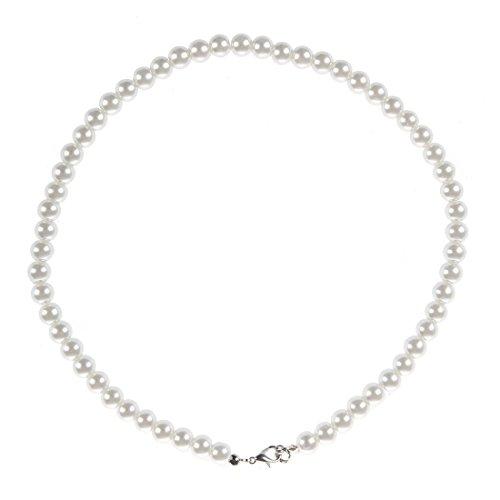 WANWE Collar de Perla con Cierre de Metal