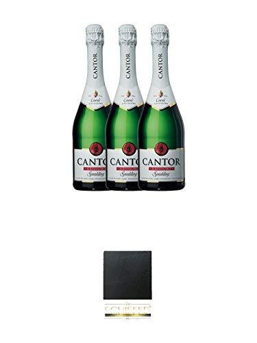 Cantor Cuvee alkoholfreier Sekt 3 x 0,75 Liter + Schiefer Glasuntersetzer eckig ca. 9,5 cm Durchmesser
