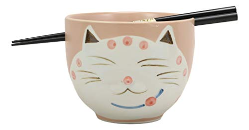 Ebros Whimsical Ceramic Peachy Pink Lucky Meow Cat Pasta Ramen Udong Pho Noodles Soup Bowl and Chopsticks Set Dining Gourmet Meal Feline Cats Collection Rice Bowls Decor Kitchen