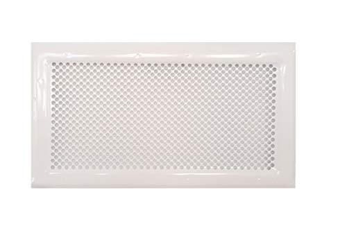 Lochblech-Lüftungsgitter in weiß RAL 9016, gelocht, Lüftungsgitter aus verzinktem Stahl in weißer Farbe, Außenlüftungsgitter.