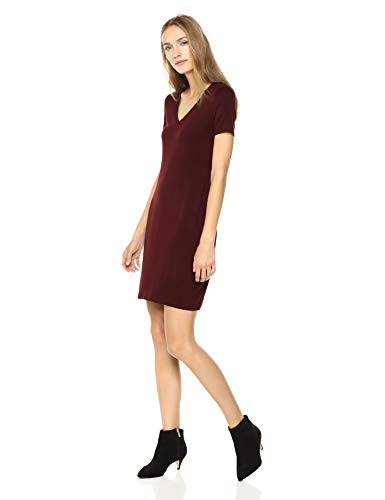 Amazon Brand - Daily Ritual Women's Jersey Short-Sleeve V-Neck T-Shirt Dress, Dark Red, Small Cotton Short Sleeve Gown