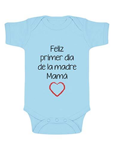 Body de Manga Corta para bebé - Feliz Primer Día de la Madre - para Mamá en su Día 0-3 Mes Celeste