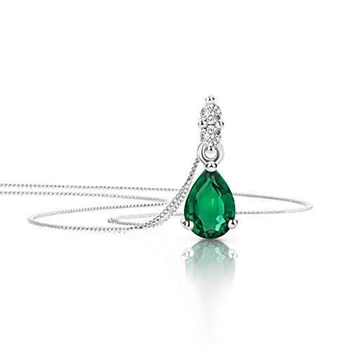 Orovi Schmuck Damen 0.06 Ct Diamant Halskette mit Tropfen Anhänger Edelstein/Geburtsstein Smaragd in grün und Brillanten Kette aus Weißgold 9 Karat / 375 Gold, länge 45 cm