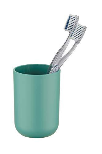 Wenko Zahnputzbecher Brasil, Zahnbürstenhalter für das Badezimmer, Becher aus bruchsicherem Kunststoff, Ø 7,3 x 10,3 cm, grün