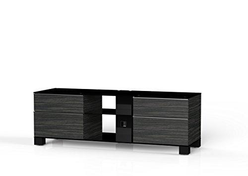 Sonorous MD 9340-b-inx-blk-hblk AMZ Meubles de téléviseur avec Verre Noir (Aluminium Brillant, Corps Bois Décor Noir