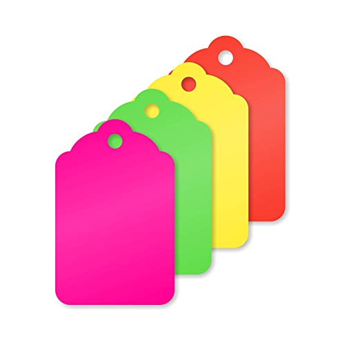 SmartSign 1.75 x 1.125 Inches Blank Tags with Hole | Fluorescent Green, Red, Pink and Yellow 13 Pt Cardstock Pack of 1000