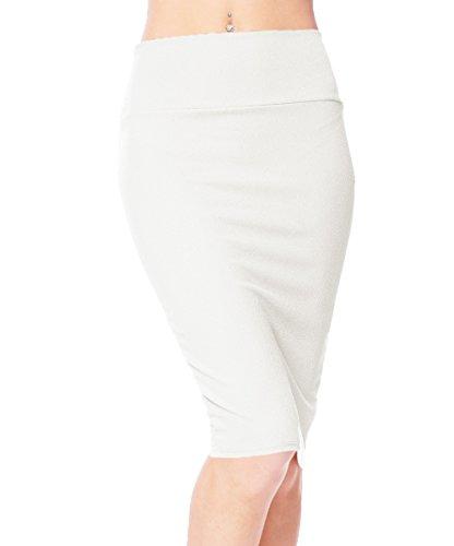 Urban CoCo Women's High Waist Stretch Bodycon Pencil Skirt (L, White)