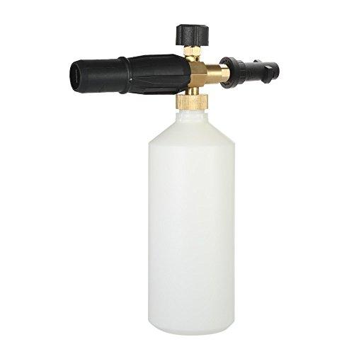 KKmoon Verstelbare autowaskan, 1 liter, met HDPE en messing, zeepschuim, hogedrukreiniger, sproeikegel, fles mond, zonder speer, professioneel gereedschap van auto's