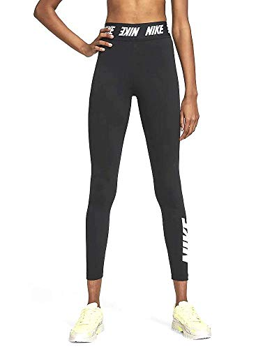 Nike Damen Sportswear Club Leggings Mit Hohem Bund, Black/White, S
