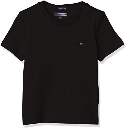 Tommy Hilfiger Jungen Boys Basic Cn Knit S/S Regular Fit T-Shirt, Schwarz (Meteorite 055), 140 ( Herstellergröße: 10)