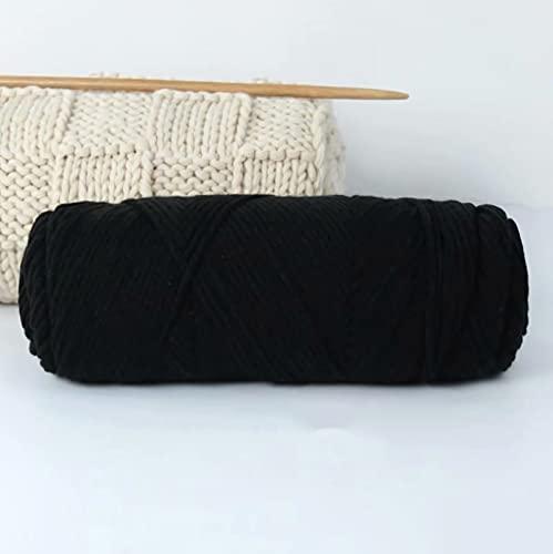 YDZK 5 × 100g hilo de tejer de ganchillo Ovillos hilo acrílico súper suave para tejer bricolaje manta tirar bufandas pequeños proyectos de hilo artesanías (Negro)
