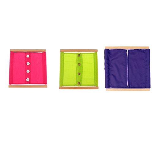 3 Pezzi Montessori Cornici Di Vestitura In Legno Imparare A Staccare Distacare Bottone Zipping