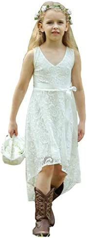 Bow Dream Vintage Lace Girls Junior Bridesmaid Dress High Low Wedding Party Occasions White product image