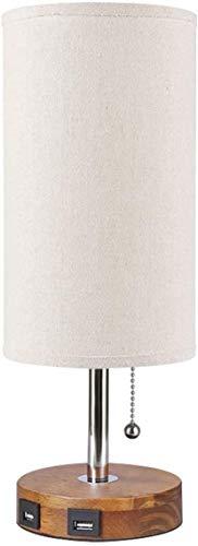Diseño unico, Lámpara de mesa recargable USB, lámpara de noche de metal con interruptor de pull, protección ocular E26 Vintage Lámpara de escritorio con pantalla de tela para dormitorio, guardería, me