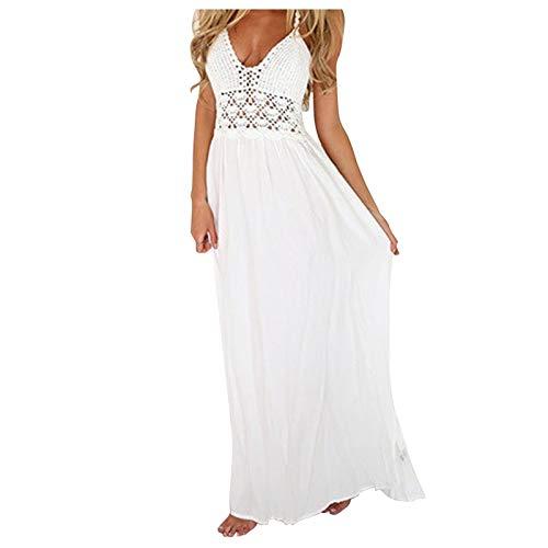 Xmiral Damen Spitze Nähte Chiffon Hohle Hohe Taille Elegante Hosenträger Rückenfrei Einteiliges Kleid(Weiß,XL)
