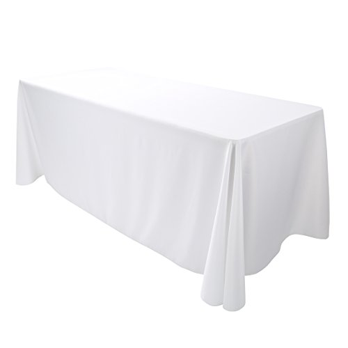 E-TEX Oblong Tablecloth - 90 x 132 Inch Rectangle Table Cloth for 6 Foot Rectangular Table in Washable Polyester ,  White