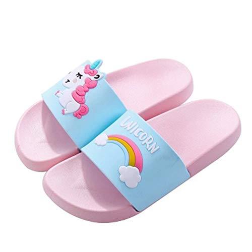 Unicornio Zapatillas para Niño Y Niña del Unicornio para Los Niños De Dibujos Animados De Interior Zapatillas De Playa De Verano Piscina Zapatillas (Rosa, 28-29)