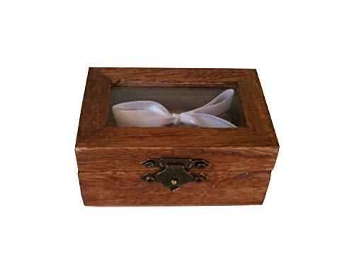 Caja alianzas,Caja anillos de boda color nogal con tapa de transparente, arpillera y lazo blanco para sujetar los anillos. ideal para bodas rústicas