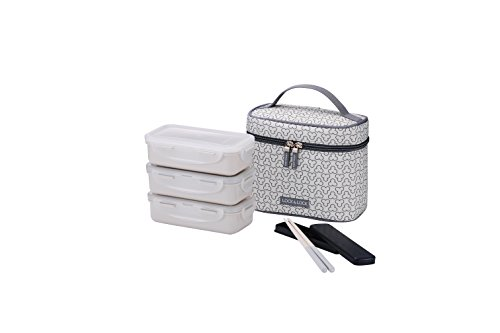 LOCK & LOCK Picknick Box Set mit Transport-Tasche creme-weiß - 2er Lunchbox unterteilt &  auslaufsicher - Vesperdosen stapelbar, 2 Picknickboxen 350ml