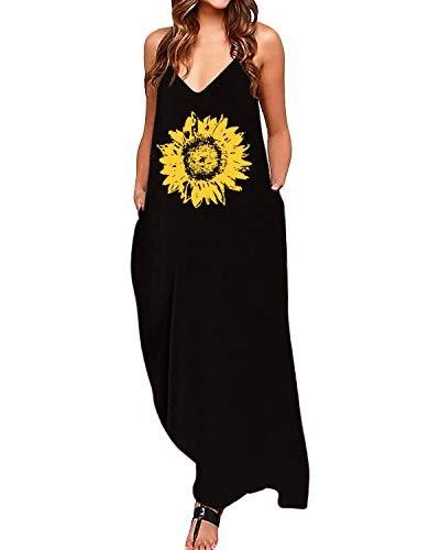 CNFIO Vestidos Largos Verano Mujer Casual Sin Mangas Vestido Playa de Fiesta Mujer