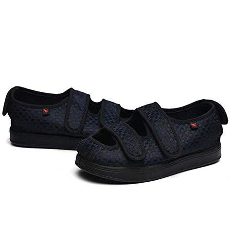 XRDSHY Zapato para Diabéticos Unisex, Zapatos De Invierno Cálidos para Edema, Zapatos Ajustables para Caminar con Edema, Zapatillas De Casa Hinchadas Extra Anchas para Ancianos,Navy-EU43/265mm