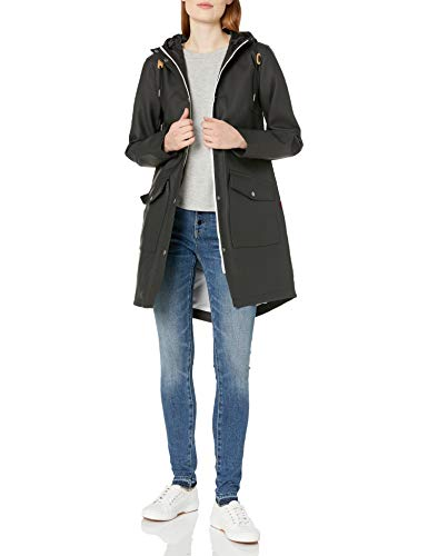 Levi's Women's Hooded Rubberized Faux Leather Anorak Jacket, black, Small
