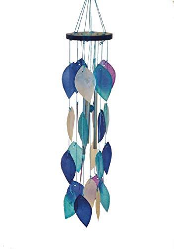 My Family House Windspiel Capiz-Muschel, für Terrasse, Garten, Fenster, Sonnenfänger, ideal für Fenster, Balkone, Schattierungen von Blau