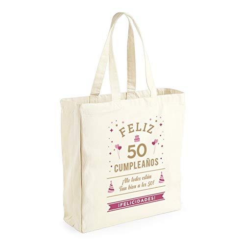 Design, Invent, Print! Bolsa de Lona de algodón de 50 cumpleaños - para Mujer - como Regalo, Recuerdo o para Hacer la Compra - Natural - 42 x 39 x 13 cm