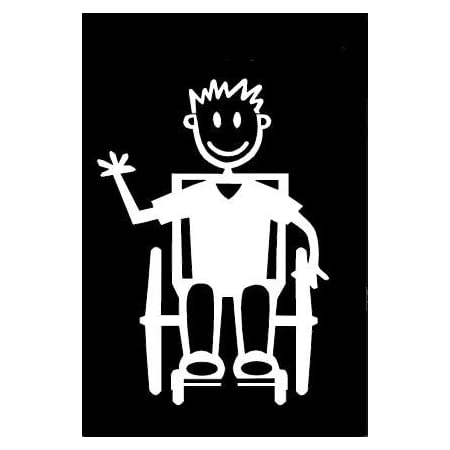 My Stick Figure Family Autoaufkleber Aufkleber Sticker Decal Ältere Jungen Im Rollstuhl Tm13 Auto