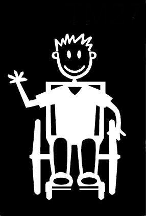 My Stick Figure Family Autoaufkleber Aufkleber Sticker Decal Ältere Jungen im Rollstuhl TM13