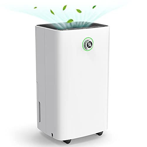 Deumidificatore 12L/24h, 2 Modalità a Velocità, Deumidificatore Ambiente Casa con Display Digitale Dell'umidità e Funzione Timer, 185 W, 2.3L - Ideale per umidità e condensa