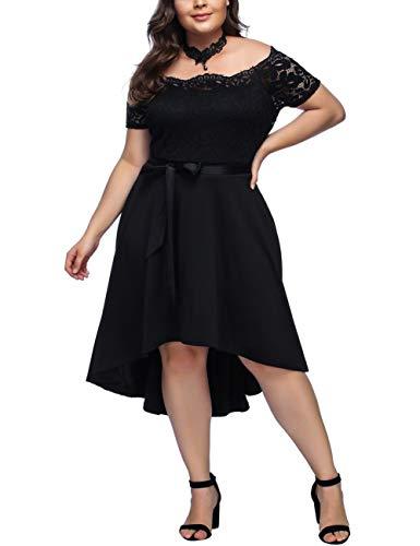 FeelinGirl Mujer Vestido de Noche Encaje Largo Traje Talla Extra Grande (Negro-108, XL/ES 46-48)
