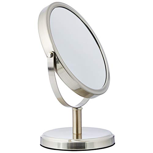 AmazonBasics - Zweiseitiger, moderner Kosmetikspiegel, Nikel