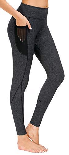 Munvot Damen Laufhose Workout Strumpfhose Yoga Hose Leggings Taschen - Grau - X-Groß