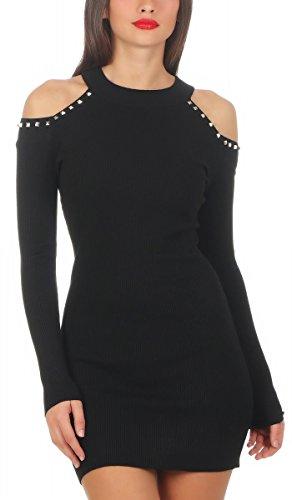 Fashion4Young 5520 Damen Feinstrick Pullover Strickkleid Minikleid Nieten schulterfrei (schwarz, S/M=34/36)