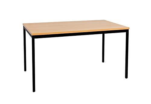 furni24 Schreibtisch Homeoffice Seminartisch 140 cm x 70 cm x 75 cm schwarz/buche Verschiedene Größen schöner Stabiler PC-Tisch mit viel Beinfreiheiten